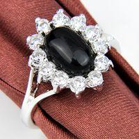 Wholesale Handmade Rings 925 - 2014 Handmade New 925 silver Small Black onyx RING gemstone jewelry free shipping R0145