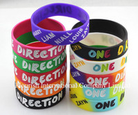 Wholesale One Direction Band Silicone Bracelets - Wholesale 2500pcs lot Mix 11 Colors silicone energy 190*18*2mm bracelet band One Direction wristband SP008