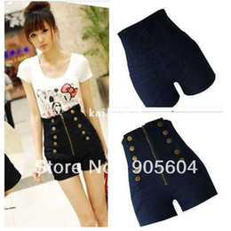 Wholesale Double Breasted High Waist Shorts - 2014 Trendy Fashion Vintage Lady Button Double Breasted Zipper Women's High Waist Pocket Jeans Pants Girls Shorts Denim Trousers