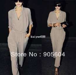 Elegant Plus Size Rompers Canada - 2014 Hot Trendy Fashion Elegant Womens High Waist Long Sleeve Chiffon Jumpsuits Pants Ladies Rompers Plus Size Summer Bodysuits