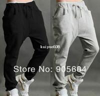 ingrosso pantalone di sudore baggy-2014 New Mens Casual Harem Baggy Hip Hop Dance Sport Pantaloni della tuta Ragazzi Pantaloni Pantaloni da jogging s Pantaloni larghi