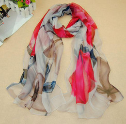 Wholesale Printed Silk Georgette - New Style Silk Scarf For Women Girl Fashion Printed Scarves Tulip Flower Pattern 4 Colors Mixed