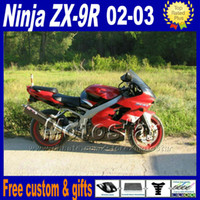 Wholesale Custom Kawasaki Motorcycle Parts - Custom motorcycle parts for ZX-9R 02 03 Kawasaki Ninja fairing kit ZX9R 2002 2003 ZX 9R red black plastic fairings set DH12