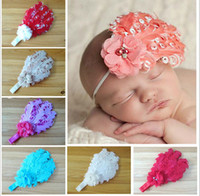 Wholesale Hair Flowers For Adults - 20pcs lot 12 Color Feather Flower Children lovely Hair Accessories Kid's or adult Headwear For Headband with band ba05
