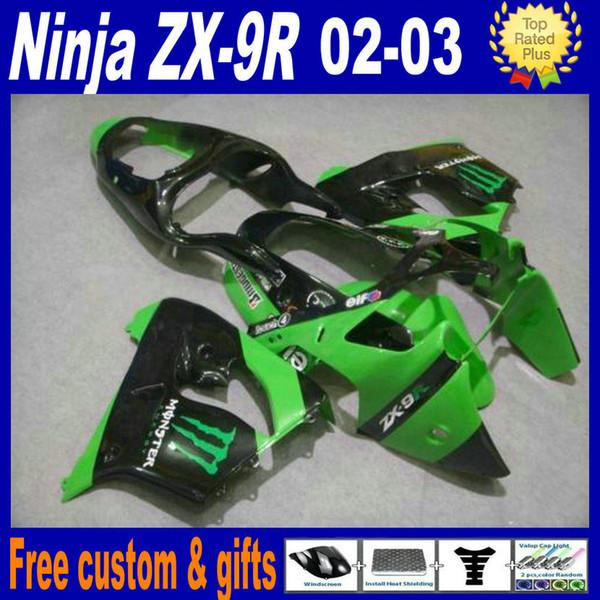 Kit carénage en plastique pour Kawasaki Ninja ZX-9R 2002 2003 Kits carénages de haute qualité ZX9R 02 03 ZX 9R vert noir motobike set custom custom DH17