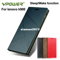Wholesale Vpower Lenovo - For lenovo k900 leather case Vpower art case for lenovo k900 with Sleep Wake+free screen protector + retail packing +Free ship