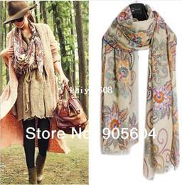 Wholesale silk bohemia - NEW 2014 Spring Trendy Fashion Womens Totem Retro Bohemia Floral Print Silk Scarf Noble Shawl Ladies Long Scarves Pashmina