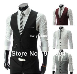 2014 Stylish Design Casual Men Formal Slim Fit Pocket V-neck Vest Jacket Man Spring Business Tops Buttons Waistcoat Clothing