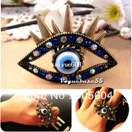 Retro Antiqued Bronze Vintage Rhinestone Women's Fashion Gothic Evil Eye Ring