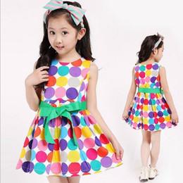 Girls dress 16 years online shopping - Summer children s dress girl Color dot dress kids sleeve less dress A Line dress girl vest dress with bowknot for years p l