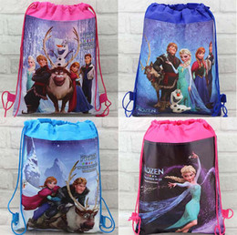 Wholesale Hot Pink Gift Bags - Hot sale new 12pcs Popular Frozen Bags Children School Bags Drawstring Backpack School Bag,Party Gift