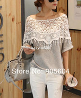 Wholesale Grey Collared Shirt Woman - Shirt 2014 New Fashion Stylish Women Handmade Crochet Cape Lace Collar Ladies Batwing Sleeve Tee Hollow Out Female Tops