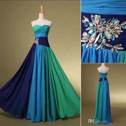 Wholesale Colorful Evening Gowns - 2016 chiffon New Arrival Blue In Stock Prom Cocktail Homecoming Party Dresses Evening Gowns With Sweetheart Colorful Crystal Floor-Length