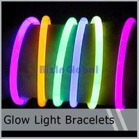 Wholesale Hot Bracelet Glow - Hot sale LED Light Up Flashing Sticks Bracelet Multi Color Lighting Blinking Glow Party 100 pcs   lot