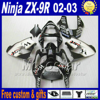 Wholesale Zx9r Body Kit - Bodywork sets for ZX-9R 02 03 Kawasaki Ninja fairing body kit 2002 ZX9R 2003 ZX 9R white black West fairings set DH30
