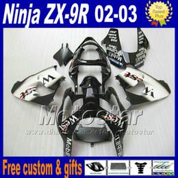 Argentina Set de carrocería para ZX-9R 02 03 Kawasaki Ninja kit de carenado 2002 ZX9R 2003 ZX 9R blanco negro carenado de pared DH30 cheap zx9r white fairings Suministro