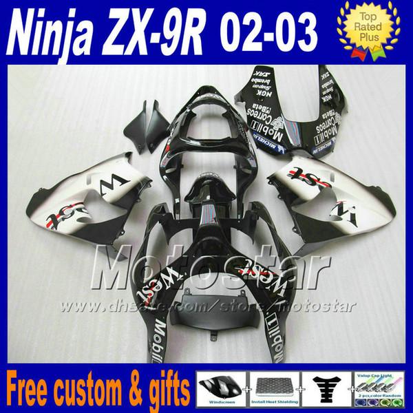 Bodywork sets for ZX-9R 02 03 Kawasaki Ninja fairing body kit 2002 ZX9R 2003 ZX 9R white black West fairings set DH30
