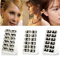 Wholesale Ear Display - Fashion 36Pairs White Faux Pearl Beads Ear Stud Earring 0.6 0.8 1cm With display Free Ship
