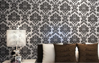Wholesale Modern Damask Wallpaper - Vintage Classic Black&silver French Modern Damask Feature Wallpaper Wall paper Roll For Living Room Bedroom TV Backdrop