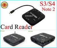 Wholesale Hub Galaxy S3 - OTG USB Hub and Card Reader Micro USB Type Hub and Card Reader for Samsung Galaxy S3 S4 Note2