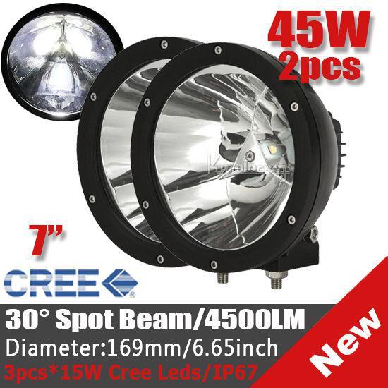 "7"" 45W CREE LED Driving Work Light Off-Road SUV ATV 4WD 4x4 POWER Spot Beam 4500lm 9-30V JEEP Truck Wago Fog Headlamp Replace HID Black"