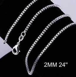 $enCountryForm.capitalKeyWord NZ - Fashion Jewelry 925 sterling silver 2mm Aberdeen Box CHAIN Necklace In stock Size 16inch 18inch 20inch 22inch 24inch