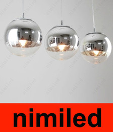 Wholesale Mirror Pendants - nimi246 Modern Glass Mirror Silver Ball Tom Dixon Chandelier Pendant Lights Droplight Lighting Dia 15cm   25cm   30cm   35cm   40cm   50cm