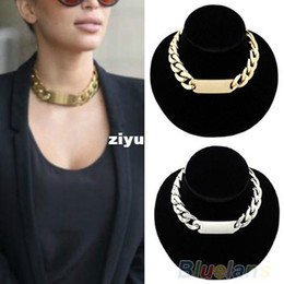 Wholesale Aluminum Chain Necklace - Luxury Jewelry Silver Gold Punk Golden Aluminum Alloy Link ID Chunky Chain Choker Short Necklace for Women Party Wear