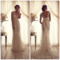 Wholesale Ruched Wedding Dresses Sleeves - 2015 Vintage Lace Wedding Dresses Sheer Neck Short Sleeve Backless Beach vestido de noiva Empire A Line Bridal Gowns Court Train HD154