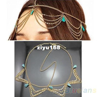correntes de cabeleireiro venda por atacado-Charm Gothic Bohemian Boho Cabelo Crown Cuff Headband Headwrap Hairwear Headdress Cadeia Jóias Mulheres