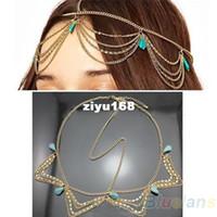 Wholesale Crown Cuff Headbands - Charm Gothic Bohemian Boho Hair Crown Cuff Headband Headwrap Hairwear Headdress Chain Jewelry Women