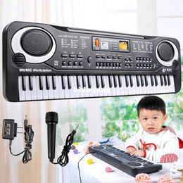 Wholesale Keyboards Electric Piano - New Arrival 61 Key Multifunction Electronic Music Keyboard Electric Piano With Microphone Gift Free Shipping&Wholesales