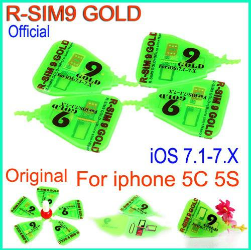 Original RSim9 Gold RSIM 9 gold R-SIM 9 Gold Pro SIM Card AUTO Unlock Official For IOS7.1 IOS 7.1-7.X AUTO Unlock Iphone 5S 5C ATT T-MOBILE