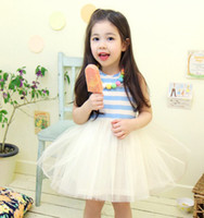 Wholesale Girl Dress Preorder - Preorder Boutique New 2014 Hot Sell Girl Striped Vest Layered Yarn Veil Princess Dresses Girls Sleeveless Tutu Dress With NecklaceI0152