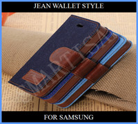 Wholesale Case S4mini - Denim jean Wallet Leather Credit Card Stand Case cover for Samsung Galaxy S5 S4 S4mini S3 S3 mini i9600 i9500 s4 mini i9190