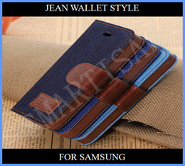 Wholesale S3 Cover Credit Card - Denim jean Wallet Leather Credit Card Stand Case cover for Samsung Galaxy S5 S4 S4mini S3 S3 mini i9600 i9500 s4 mini i9190