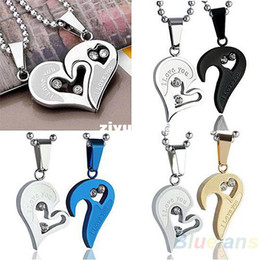 Wholesale Womens Stainless Steel Heart Necklace - Mens Womens Lovers Stainless Steel Love Heart Jigsaw Pendant Necklace Gift