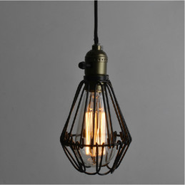Wholesale Small Led Work Lights - Vintage Wrought iron Pendant lighting Small iron cages Chandelier Restaurant Kitchen Lighting Fixture Free shipping PL353