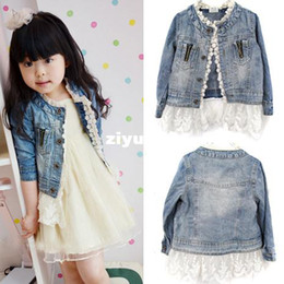 Wholesale Hood Lace - Free shipping Girls Kids Lace Cowboy Jacket Denim Top Button Costume Outfits Jean Coat 2-7T Drop shipping