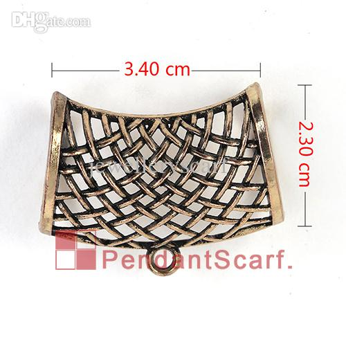 Hot Selling DIY Jewelry Necklace Scarf Pendant Light Golden Plated Metal Alloy Net Design Slide Bails Tube, AC0198C