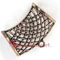 kayan kolye toptan satış-12PCS / LOT Sıcak Kolye Eşarp Kolye Işık Altın Kaplama Metal Alaşım Net Tasarım Slide Bails Tüp DIY Takı Satış, Ücretsiz Kargo, AC0198C