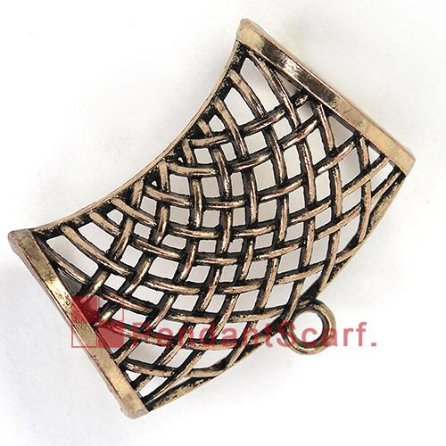 12PCS/LOT Hot Selling DIY Jewelry Necklace Scarf Pendant Light Golden Plated Metal Alloy Net Design Slide Bails Tube, Free Shipping, AC0198C