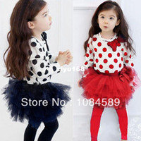 Wholesale Girls Culottes Spring Autumn - Girls Kids Outfits Bowknot Shirts+Tulle Pantskirt Tutu Dress Culottes Dots 2 PCS Clothes Set 1-6Y Free Drop Shipping