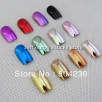 Wholesale Natural Nail Glue - 144PCS 12 Metallic Color Metal Plating False French Acrylic Nail Tips With Nail Glue 12 sizes