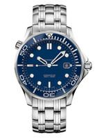 ingrosso uomini blu viso orologi-Marchio svizzero di alta qualità di lusso James Bond 007 Sea Co-Axial Blue Face Mens Automatic Orologio meccanico da uomo in acciaio inossidabile Orologio per uomo
