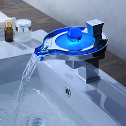 Wholesale Single Hole Led Faucet - Polished Chrome Glass Color Changing LED Waterfall Kitchen Bathroom Faucet Mixers Tap