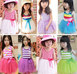 Wholesale Stripes Ribbons - Girl Summer Dresses Children Clothes Cotton Gauze Splicing Colorful Stripe Sundress 145