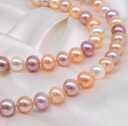 Natural 8-9mm South Sea White Pink Purple Pearl Necklace 18inch 925 Silver Clasp