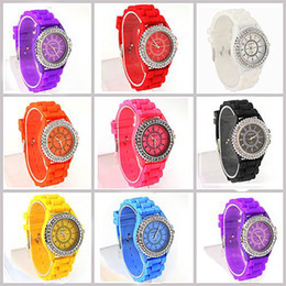 Wholesale Classic Gel Crystal Watch - Free Shipping 5 Pieces Lot New Classic Gel Silicone Crystal Men Lady Jelly Watch Stylish Gifts Fashion