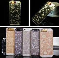 Wholesale Iphone 4s Lighting Case - Light UP Flash Lighting LED Hard Clear Case for iPhone 4 4S 5 5S No Battery Required